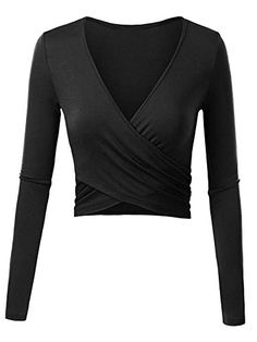 Odosalii Women s Deep V Neck Long Sleeve Cross Wrap Crop Tops Unique Slim  Fit Pullover. PixBreak Fashion f9201277a