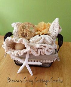Cotton-SPA-Bath-Set, crochet spa set, loofah, soapsaver, washcloth and towel, 100 % American cotton in wired basket or seagrass, creme by BsCozyCottageCrafts on Etsy https://www.etsy.com/listing/224790227/cotton-spa-bath-set-crochet-spa-set