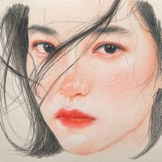 Slowly bloom in my heart : Watercolor Portraits, Watercolor Art, Art Sketches, Art Drawings, Horse Drawings, Drawing Art, Color Pencil Sketch, Korean Art, People Art