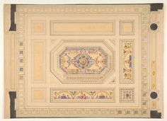 Jules-Edmond-Charles Lachaise | Design for a paneled ceiling painted with putti, birds, and floral motifs | The Met
