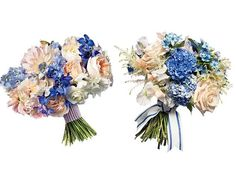 Save vs. Splurge Wedding Bouquets, Preppy Blue Flowers