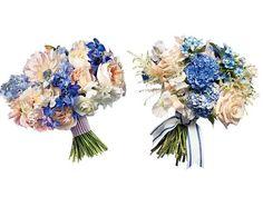 Save vs. Splurge Wedding Bouquets, Preppy Blue Flowers