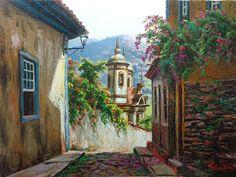 """Trabalho Espatulado       Tulio Dias   """"Manha em Ouro Preto""""   60x80-Óleo sobre tela-2015       ----------------------------------------..."""