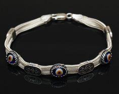 Sterling Silver Evil Eye Bracelet  Silver by SilverLiningStr