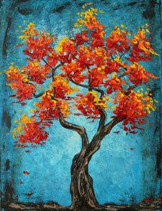Red Orange Autumn Tree Original Oil Painting by sheriwiseman, $135.45