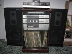 Old stereo system (70s/80s) - BIG speakers, turntable, receiver, and possibly an amplifier (and maybe a pre-amplifier).