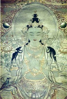 A painting of Bodhisattva Maitreya adorned with beautiful ornaments Maitreya Buddha, Gautama Buddha, Buddha Buddhism, Tibetan Buddhism, Buddhist Art, Spiritual Images, Thangka Painting, Tibetan Art, Religious Art