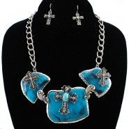 Cross and Turquoise Necklace Set