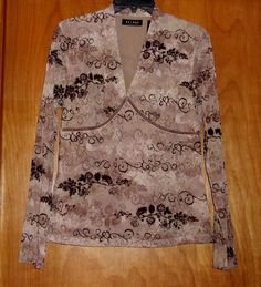 AXCESS LIZ CLAIBORNE SEMI SHEER LINED LONG SLEEVE TOP SIZE LARGE #AXCESSLIZCLAIBORNE #Blouse