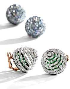 Pair of 18 karat gold, silber aquamarine and diamond earclips and pair of platinum, rose gold, silver, demantoid garnet and diamond earclips, both JAR | Sotheby's