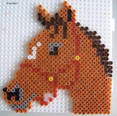 Hama beads: Horses - Pat & # s hobbies, Easy Perler Bead Patterns, Melty Bead Patterns, Perler Bead Templates, Diy Perler Beads, Perler Bead Art, Beading Patterns, Pearler Beads, Bead Crafts, Diy And Crafts