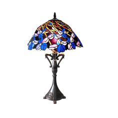 """CH18052BF19-TL2 Natalie Iris Tiffany Style Stained Glass 2L Table Lamp 19"""" Shade #ChloeLighting #StainedGlass"""