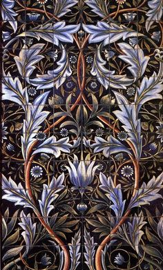 William Morris uses symmetrically balanced elements in many of his floral patterns and other designs; as well as crystallographic balance. - an example of a tile designed by Morris Azulejos Art Nouveau, Art Nouveau Tiles, Textiles, William Morris Art, Stoff Design, Pre Raphaelite, Wow Art, Arts And Crafts Movement, Tile Art