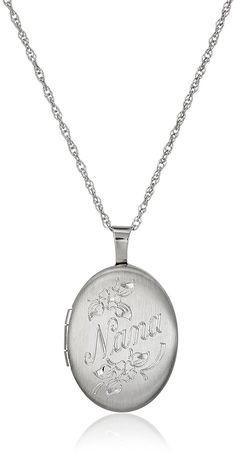 Sterling Silver Oval 'Nana' Locket Necklace, 18' ** You can find more details by visiting the image link. (This is an Amazon Affiliate link)
