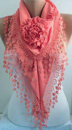 Coral Scarf / Dressing up feminine.