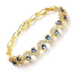 Iblue Jewelry Yellow Gold Plated Cubic Zirconia Stone Tennis Bracelet Swarovski Elements Diamond Cut *** Click image to review more details.