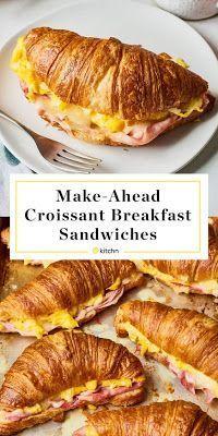 Croissant Breakfast Sandwich, Breakfast And Brunch, Breakfast Sandwich Recipes, Breakfast Dishes, Healthy Breakfast Recipes, Healthy Recipes, Quick Breakfast Ideas, Croissant Recipe, Healthy Food