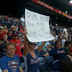 Their mom loves Chipper more than them. Poor Kids, Poor Children, Fan Signs, Braves Baseball, Atlanta Braves, Mlb, High School, Fans, Sporty