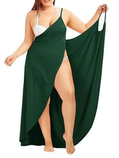 online shopping for Fadalo Plus Size Spaghetti Strap Cover Up Beach Backless Wrap Long Dress from top store. See new offer for Fadalo Plus Size Spaghetti Strap Cover Up Beach Backless Wrap Long Dress Plus Size Dresses, Plus Size Outfits, Plus Size Beach, Casual Outfits, Fashion Outfits, Fashion Fashion, Diy Outfits, Fashion Site, Fashion Online