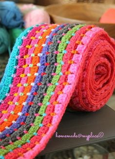 Interlocking block stitch blanket.  Click through links on blog for directions.