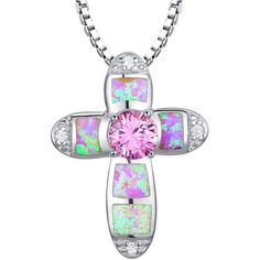 Sterling Silver Cross W. Pink Fire Opal & Cubic Zirconia Pendant Necklace #Pendant