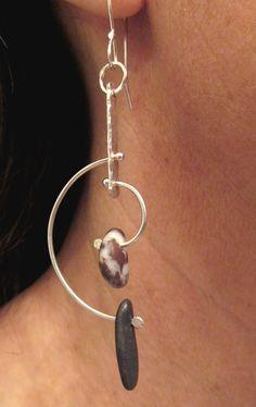 Modernist Style Kinetic Hoop Sterling Silver Beach Stone Earrings  www.rmddesigns.com