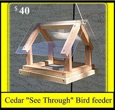 Cedar See Through Bird Feeder