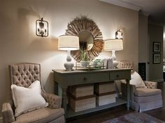pretty.. like the set up of the foyer table with two lamps