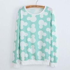 Mouse Print Round Neck Long Sleeve Hoodies Harajuku Cute Sweatshirt Dress - free shipping worldwide - http://pastelgothfreak.com
