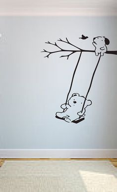 Bear on Swing Vinyl Wall Decal by OZAVinylGraphics on Etsy