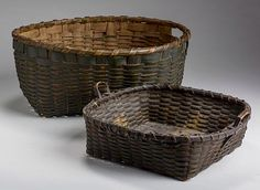 JiII & Mickey Baten and Mr & Mrs Jerome Blum Collections by Northeast Auctions. Aug. 15, 2015. Lot 1019: AMERICAN PAINTED OVAL SPLINT BASKET WITH OPEN HANDLES AND ANOTHER WITH LOOP HANDLES. Realized Price: $475 (hammer). Estimated Price: $200 - $400. Description: Heights 5 5/8 and 3 1/2 inches, lengths 12 3/4 and 10 1/2 inches.