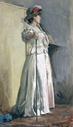 ■ HAWKINS, Louis Welden (French, 1849-1910) - Elegante a la canne. Aquarelle gouachée 43.18 x 22.86 cm ■ Луис Велден Хоукинс - Элегантная трость