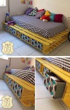 Home Diy Projects - New ideas Wooden Pallet Beds, Diy Pallet Bed, Diy Pallet Furniture, Diy Furniture Projects, Diy Bed, Cute Room Ideas, Cute Room Decor, Diy Home Decor, Bedroom Decor