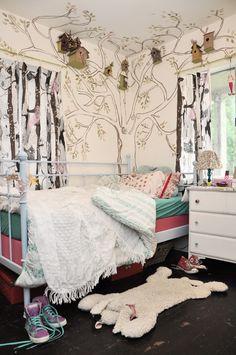 Kids bedroom, modern-eclectic British bungalow; painted tree, birdhouses