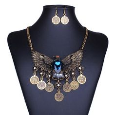 Bronze BOHO Style Coin Necklace Bohemian Eagle With Rhinestone Pendant L-13 #Welldone #Pendant