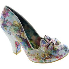 Heels Irregular Choice Nick of Time Women's floral high heel court shoes with bow new Floral 76.99 £