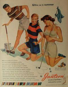 Umm as in summer - detail from 1948 Jantzen Sportswear Ad. Art by Pete Hawley Vintage Golf, Vintage Ads, Vintage Images, Vintage Posters, Vintage Style, Golf Attire, Golf Outfit, Vintage Outfits, Vintage Fashion