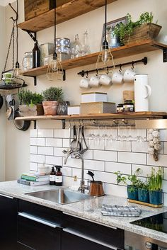 Open rustic shelves