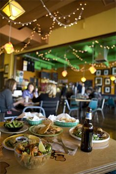 Green restaurant: great vegan food fit for an omnivore. Tasty and won't leave you hungry. Our faves are the bowls (kung pao), and the green burger (red oats and barley). Photo from Green's website, by Phoenix New Times.