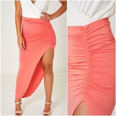 Pink Maxi High Slit Tube Skirt Ruched Bodycon Pencil Wiggle Stretchy UK 8 10 12 #Unbranded #Maxi #Party Party Dresses, Summer Dresses, Tube Skirt, Pink Maxi, Maxis, Beach, Skirts, How To Wear, Fashion