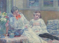 Theo Van RysselBerghe Lezende vrouw en meisje