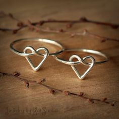 2 Infinity heart rings  Set of two heart knot rings  by Katstudio, $44.00