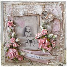 Shabby card made with Maja Design papers.