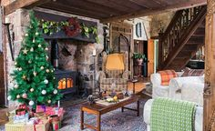 English Country Home at Christmas | living room in converted school