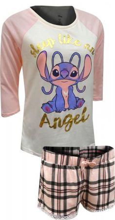 WebUndies.com Lilo and Stitch Angel Pink Lace Trim Shortie Pajama Set