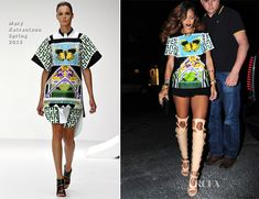 Rihanna In Mary Katrantzou Spring 2013 top with frayed denim shorts and nude Tom Ford bondage boots- Da Silvano