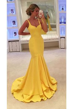 2019 Straps Satin Zipper Up Sweep Train Mermaid Evening Dresses Evening Dress Long, Mermaid Evening Dresses, Evening Party, Yellow Evening Gown, Flapper Dresses, Mermaid Style Prom Dresses, Mermaid Gown, Pretty Dresses, Beautiful Dresses