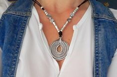 Excited to share the latest addition to my #etsy shop: Tribal necklaces Silver necklace Uno de 50 style Silver pendant women fashion leather necklaces silver bead necklace Boho jewelry http://etsy.me/2Ffv4co #jewelry #necklace #silver #women #fauxleather #boho #charmne