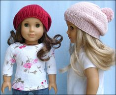 Lucy Hat For 18 Inch American Girl Dolls pattern by Steph Wylie: 1) http://www.ravelry.com/patterns/library/lucy-hat-for-18-inch-american-girl-dolls 2) http://www.ravelry.com/dl/steph-wylies-ravelry-downloads/468943?filename=Lucy.pdf