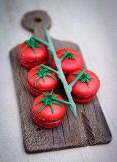 Macarons mediterranei ... a forma di pomodoro